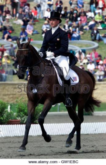 U.S. rider David O'Connor on Giltedge performs dressage movements as he participates in the Team Three-Day event of the Sydney Olympic Games at the Equestrian Centre September 16, 2000. BY/
